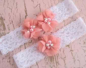 Wedding Garter , Garter Set with Toss Garter in Coral, Beach Wedding  Bridal Garter with Chiffon Blossoms pearls and rhinestones