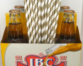 "25 ""Extra Long"" Metallic GOLD Stripe Paper Straws...Tall Soda Bottle Straws..Weddings ..Paper Drinking Straws..Water Bottle Straws"