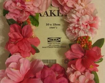 Pink Silk Flower Photo Frame