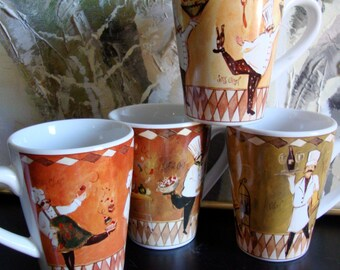 Set of 4 Oneida Coffee Mugs, Oneida Stoneware Chefcapades Coffee Mugs, Dancing Chefs Coffee Mugs, Coffee Cups