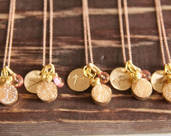 Druzy Initial Necklace, Gold and Pink Initial Druzy, Wedding Party Necklace, Druzy Jewelry,  Sparkling Druzy Jewelry, Bridal Ideas