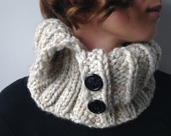 Rustic White Neck Warmer / Unisex Cowl / Hand Knit Wool Blend