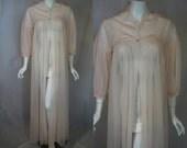 1950s Vanity Fair Pink Sheer Robe, small, medium, Peignoir Dressing Gown