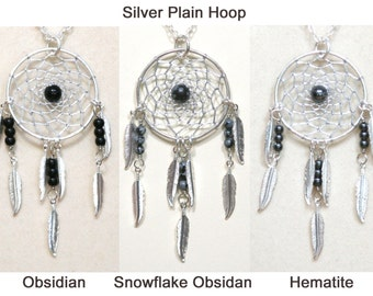 Dream Catcher Obsidian, Snowflake Obsidian, Hematite Silver Dreamcatcher Necklace with Feathers