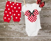 Adorable MInnie Mouse Bodysuit with matching leggings and hair bow Any Size newborn to 24 months bodysuit or shirt size 2 4 or 6