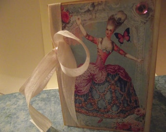 Marie Antoinette Card  Blank Inside With Seam Binding Ribbon Tie And Distress Edges