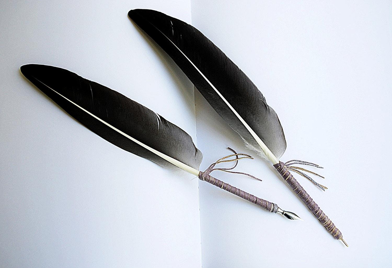 Gray Feather Pen Gray Feather Quill Dip Pen Ball Point Pen