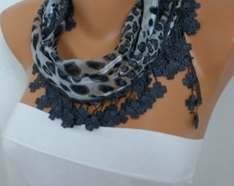 Grey Leopart Print Cotton Scarf,Birthday Gift , Floral Shawl Cowl Gift Ideas For Her Women Fashion Accessories best selling item