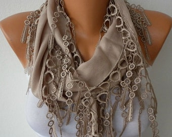 Beige Pashmina Scarf Fall Winter Accessories Cotton Cowl Shawl  Dark Beige Women Fashion Accessories Gift Ideas For Her, best selling item