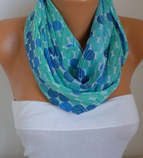 Blue Polka Dot Infinity Scarf Teacher Gift Chiffon Circle Scarf Loop Scarf  Gift Ideas For Her Women Fashion Accessories