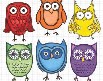 Cute Owl Clipart, Instant Download, Textured Clip Art, Commercial Use