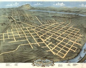 1871 Panoramic Birds Eye View Map of Chattanooga, Tennessee