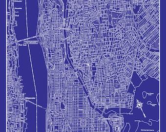 New york city map 1944 new york city manhattan street map new york city map upper manhattan street map vintage blueprint malvernweather Image collections