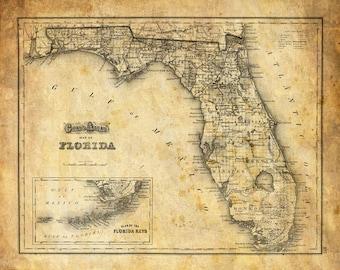 Florida Map Vintage Print Poster Grunge