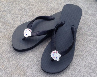 Black Flip Flops w/Hello Kitty Rhinestone Slider