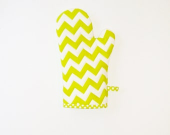 Lime Green Chevron Oven Mitt - Gift for Foodie - Gift Under 20