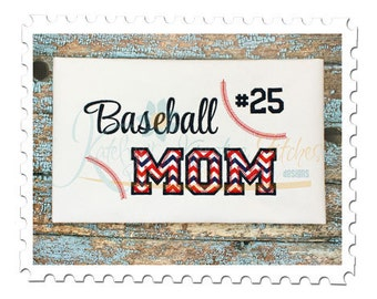 Baseball MOM 2 - Applique and Filled