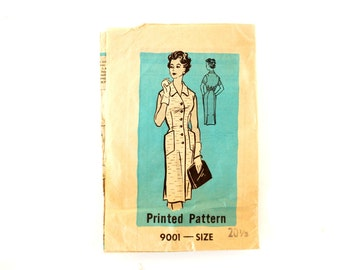 Vintage Women's Button Up Dress with Pockets by Marian Martin Pattern 9001, Complete (Size 20-1/2) (c.1950s) - Sewing, Plus Size