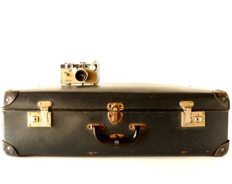 Vintage / Antique Metal Airway Luggage in Black by E.J. Gausepohl Luggage Shop (c.1900s) - Hard-to-Find Collectible, Unique Storage