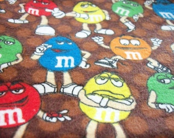 M&M'S Candy Fabric Flannel Peanuts Chocolate Brown New BTFQ