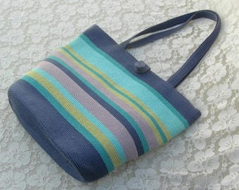 SUMMER SALE Summer Straw Bag in Multi-Colored Stripes by Heaslip, blue, turquoise, mauve, shoulder straps, great carry-all