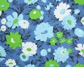 Vintage Wallpaper by the Yard 70s Retro Wallpaper - 1970s Vinyl Blue Lime Green and White Flowers