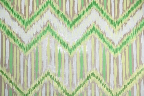 Retro Wallpaper by the Yard 70s Vintage Wallpaper - 1970s Mylar Green Yellow and White Zig Zag