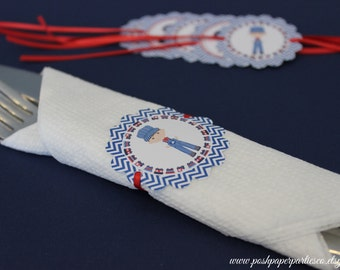 Train Themed Birthday Party - Napkin Ties - Napkin Rings - Red - Navy - White -