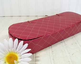Vintage Mauve Satin Quilted Glove Box - Retro Rose Pink Vanity Luxury Organizer - Shabby Chic Cerise Storage Case - Matching Satin Tie Hinge