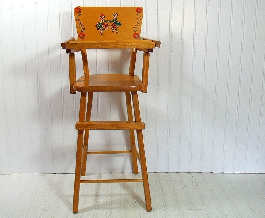 Vintage Tall Wooden High Chair Mid Century Child 39 S Play