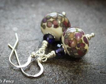 Handmade Art Glass Earrings | Ivory with Colored Drops | Artisan Lampwork Earrings | Sterling Silver | Women's Gift