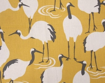 Made to order. One pair of window curtains, pleated top, no lining. Robert Allen Winter Crane