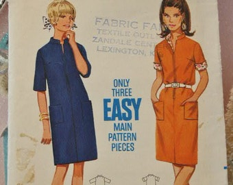 Vintage 1960's 3 Main Pieces Butterick Shift Dress with Mandarin Collar 4513 Sewing Pattern Size 18 Bust 38
