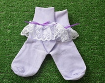 Lavendar -  Lace Socks with Bow for Little Girls - Size 7-8 1/2 (S) - US Shoe Size 9-1