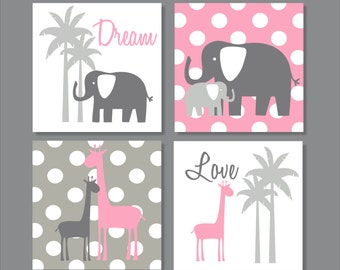 Elephants, Giraffe, Palm Tree, Children's Wall Art, Nursery Wall Art, Children's Canvas- Set of four stretched canvas Customizable