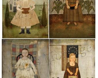 Primitive Girls, Collage Sheet, download, you print