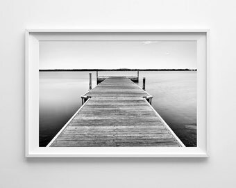 Minnesota Art Lake Bemidji Dock, Nautical Decor, Beach Art, Black and White Landscape Photograph - Oversized Art Print Sizes Available