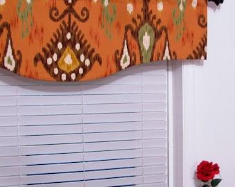 Robert Allen Home Khandar Ikat Twill Cinnabar Burnt Orange Shaped VALANCE Rusty Ethnic Window Treatments Handmade in the USA