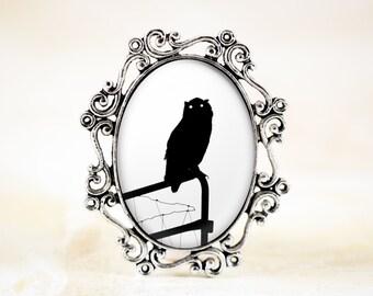 Silver Owl Brooch Pin, Owl Silhouette Jewelry, Black White Jewelry, Bird Broach