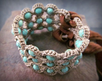 Bohemian Bracelet or Cuff, Natural brown and turquoise shades - adjustable - Crochet Jewelry