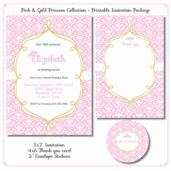 Pink And Gold Princess 1st Birthday Party Fresh Pink And: Items Similar To Pink Damask And Gold Princess Birthday