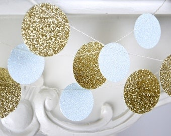 Gold and White Glitter Paper Garland, Bridal Shower, Baby Shower, Party Decorations, Birthday Decoration