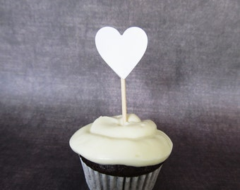 White Heart Cupcake Toppers, Party Decor, Weddings, Showers, Double-Sided, Love, Set of 24