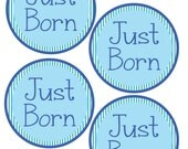 ADD ON Just Born Stickers for Baby, Just Born Stickers  - Boy Stripes - Just Born Stickers -Baby Shower Gift - Baby