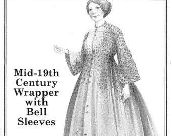 PP807 - Past Patterns #807, Mid 19th Century Wrapper with Bell Sleeves Sewing Pattern