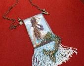 Double-sided peyote stitched mermaid amulet bag
