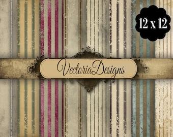 Grunge Striped Digital Paper 12 x 12 inch paper pack instant download digital paper printable digital collage sheet VD0575