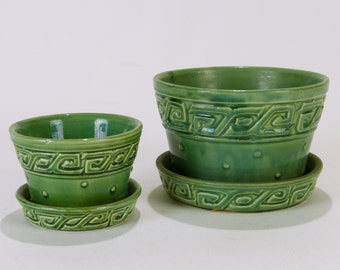 Greek Key McCoy Green Planters with Attached Saucers