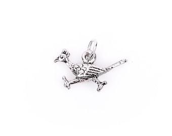 ROADRUNNER BIRD Sterling Silver Charm Pendant,  pms0064