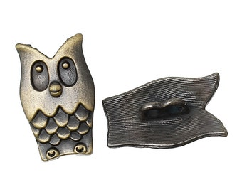 4 Antique Bronze 2-Hole OWL Metal Buttons for Jewelry Making, Scrapbooking, Sewing  but0185